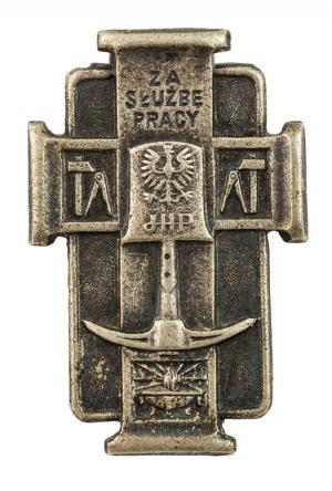 ODZNAKA ZA SŁUŻBĘ PRACY W JUNACKICH HUFCACH PRACY, Polska, 1936, Metal srebrzony, 40 x 26 mm