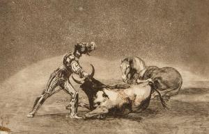 Francisco GOYA Y LUCIENTES, UN CABALLERO ESPANOL MATA UN TORO DESPUES DE HABER PERDIDO EL CABALLO (Rycerz hiszpański straciwszy konia, śmiertelnie godzi byka), 1816