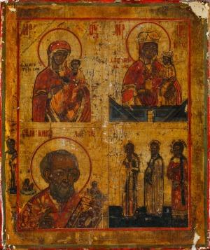 IKONA CZTEROPOLOWA, Rosja, XVIII/XIX w., Tempera, złocenie, płótno na desce; 31 x 26 cm