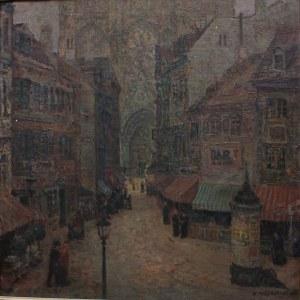 Konstanty Mackiewicz (1894-1985), Pejzaż miejski z katedrą gotycką