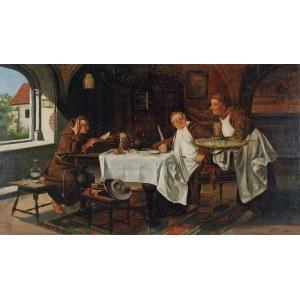 Jan Czesław MONIUSZKO (1853-1908), Z nożem na rybę - klasztorna biesiada, 1906