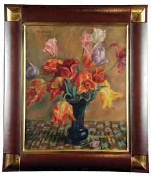 Józef PANKIEWICZ (1866-1960), Tulipany w niebieskim flakonie, ok. 1926