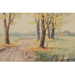 Władysław GRUDZIŃSKI (1875-1942), Pejzaż jesienny z piaszczystą drogą