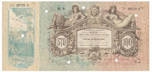 Lwów - Asygnata Kasowa na 100 koron 1915