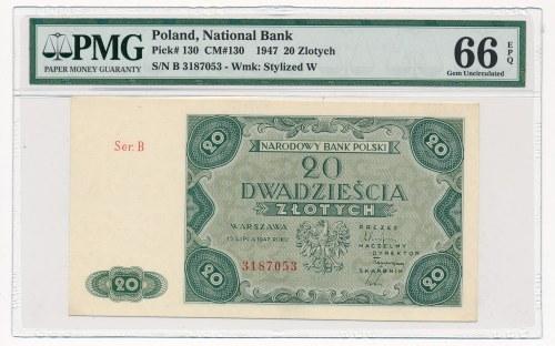 20 złotych 1947 -B- PMG 66 EPQ