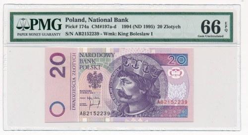 20 złotych 1994 -AB- PMG 66 EPQ - bardzo rzadka seria