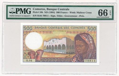 Comores - 500 francs 1994 - PMG 66 EPQ