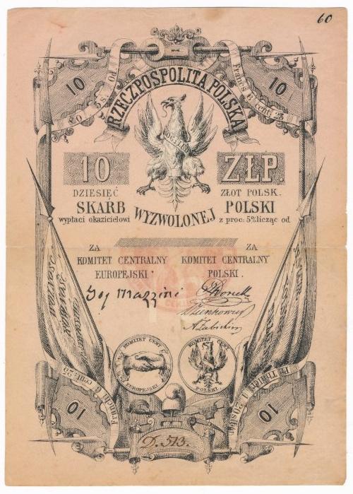 Skarb Wyzwolonej Polski 10 złotych 1853 - Kolekcja Lucow - znakomity stan