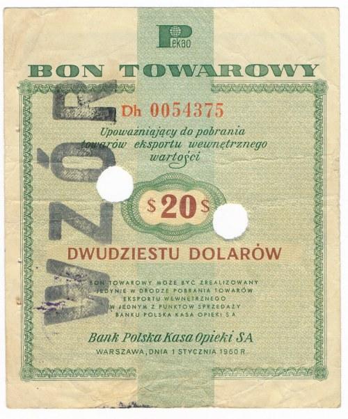 Pewex Bon Towarowy 20 dolarów 1960 WZÓR numeracja bieżąca