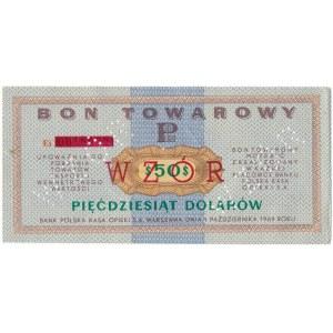 Pewex Bon Towarowy 50 dolarów 1969 WZÓR -Ei- NIEZNANY
