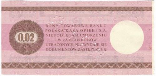 Pewex Bon Towarowy 2 centy 1979 WZÓR HO 0000000