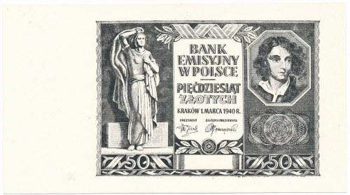 50 złotych 1940 - odbitka na papierze PWPW