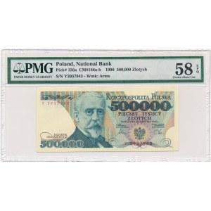 500.000 złotych 1990 -Y- PMG 58 EPQ - b.rzadka seria