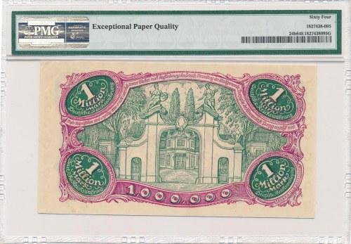 Gdańsk 1 milion marek 08 Sierpnia 1923 - num. 6 cyfrowa z ❊ - PMG 64 EPQ