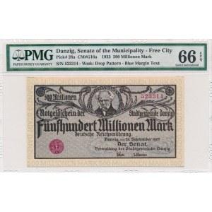 Gdańsk 500 milionów 1923 - druk szarofioletowy - PMG 66 EPQ - wyśmienity
