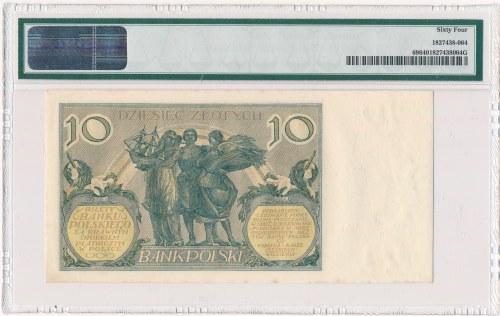 10 złotych 1929 -FV- PMG 64