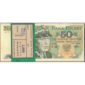 Paczka bankowa 50 złotych 1988 -KC- 100 sztuk
