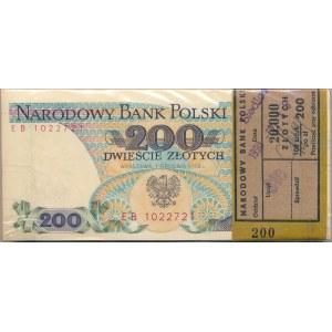 Paczka bankowa 200 złotych 1988 -EB- 100 sztuk - rzadsza seria przejściowa