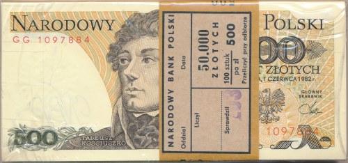 Paczka bankowa 500 złotych 1982 -GG- 100 sztuk