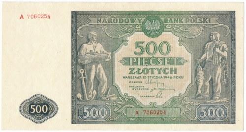 500 złotych 1946 -A- rzadka pierwsza seria