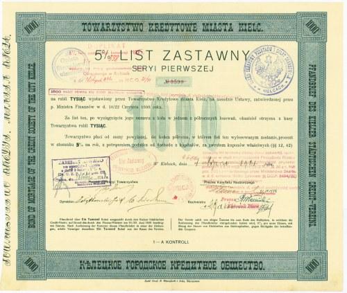 5% List Zastawny - Towarzystwo Kredytowe Miasta Kielc - 1.000 rubli - RZADKOŚĆ
