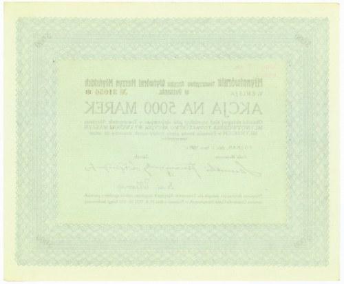 MŁYNOTWÓRNIA Towarzystwo Akcyjne Wytwórni Maszyn Młyńskich, Em.5, 5.000 marek 1922 + reklama