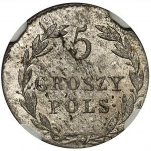 Królestwo Polskie, 5 groszy polskich 1819 IB - NGC MS61