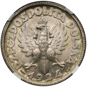 Kobieta i kłosy 2 złote 1924 Paryż - NGC MS62