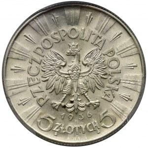 Piłsudski 5 złotych 1936 - PCGS MS62 - ładny