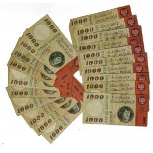 ZESTAW - 1.000 złotych 1965 - różne serie (20szt.)