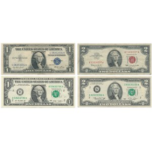 USA - $1 and $2 dollars - different certificates (4pcs.)