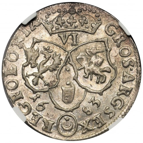 Jan III Sobieski, Szóstak Bydgoszcz 1683 TLB - NGC AU58