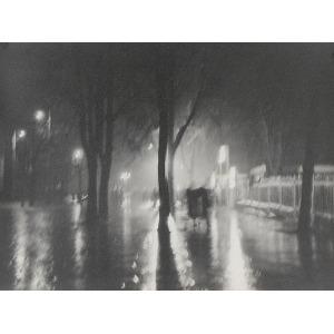 Józef MYSZKOWSKI (XX w.), Deszczowy wieczór, 1957