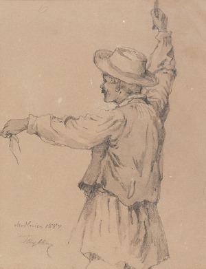Tadeusz RYBKOWSKI (1848-1926), Szkic postaci woźnicy, 1884