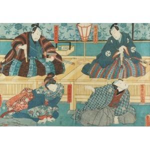Kunisada I UTAGAWA (1786-1865), Trzech mężczyzn i kobieta