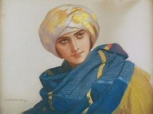 Piotr STACHIEWICZ (1858-1938), Dziewczyna w złocistym zawoju, ok. 1915
