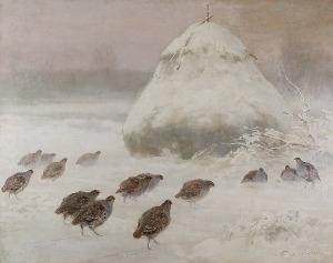 Ignacy ZYGMUNTOWICZ (1875-1947), Kuropatwy na śniegu, ok. 1920