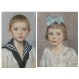 Hans DRESSLER (1869-1943), Para portretów dzieci, 1918
