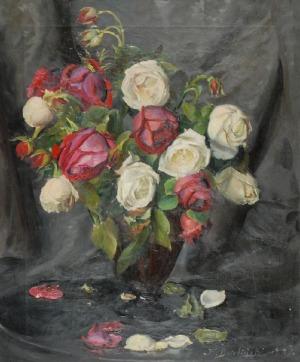 Kazimierz DZIELIŃSKI (1894-1955), Róże w wazonie, 1943