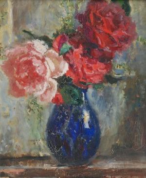 Anna MAŚLAKIEWICZ-BRZOZOWSKA (1912-1986), Róże w wazonie