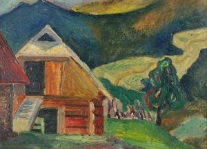 Roman SIELSKI (1903-1990), Stodoła - pejzaż podgórski
