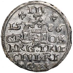 Stefan Batory, Trojak 1586 Ryga - mała głowa