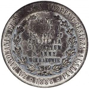 Polska, Medal 300 lat gimnazjum św. Anny Kraków 1888