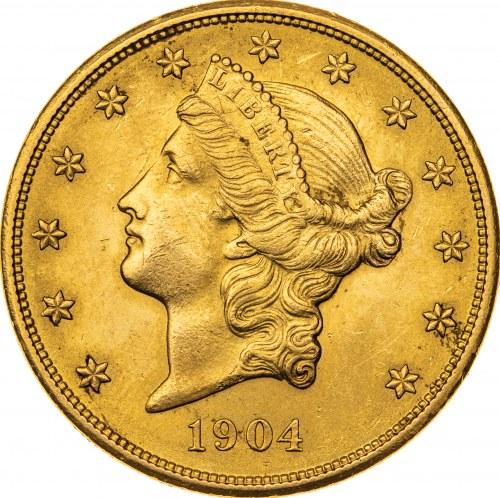 20 dolarów 1904, USA, Filadelfia, Au 900, 33,53 g