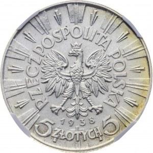 5 zł 1938, II RP, Piłsudski, MS 63