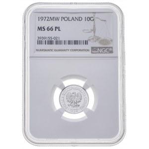 10 gr 1972, PRL, PROOF LIKE, MS 66 PL, MAX