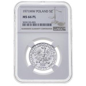 5 zł 1971, PRL, rybak, PROOF LIKE, MS 66 PL, MAX