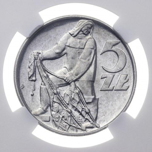 5 zł 1973, PRL, rybak, PROOF LIKE, MS 65 PL, 2ga najwyższa nota NGC
