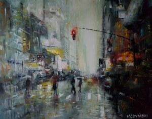 Arkadiusz Mężyński, New York in the rain, 2018