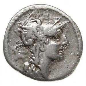 denar 91 pne, Rzym, Aw: Głowa Romy w prawo, za niąznak...